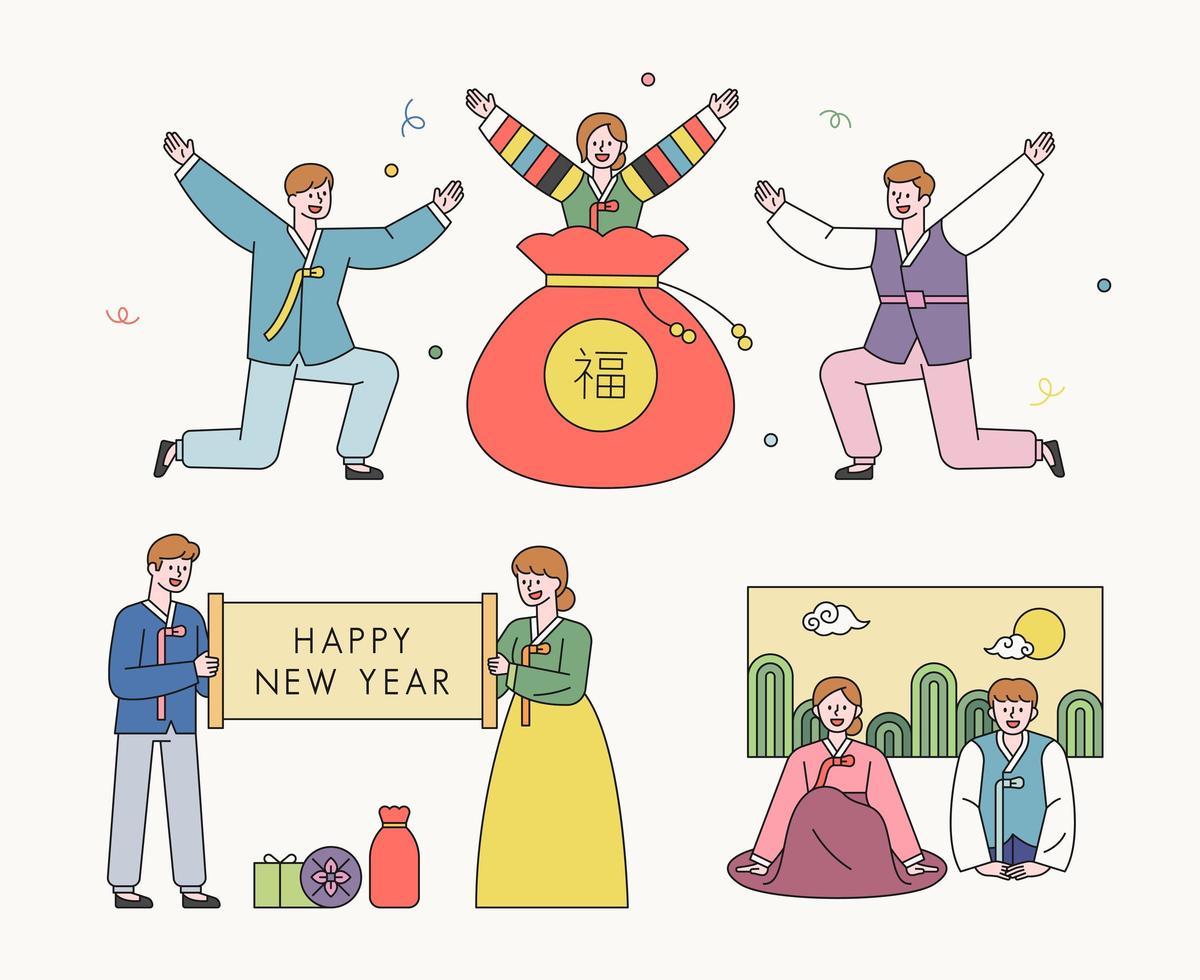 personaggi che salutano in abiti tradizionali coreani. vettore