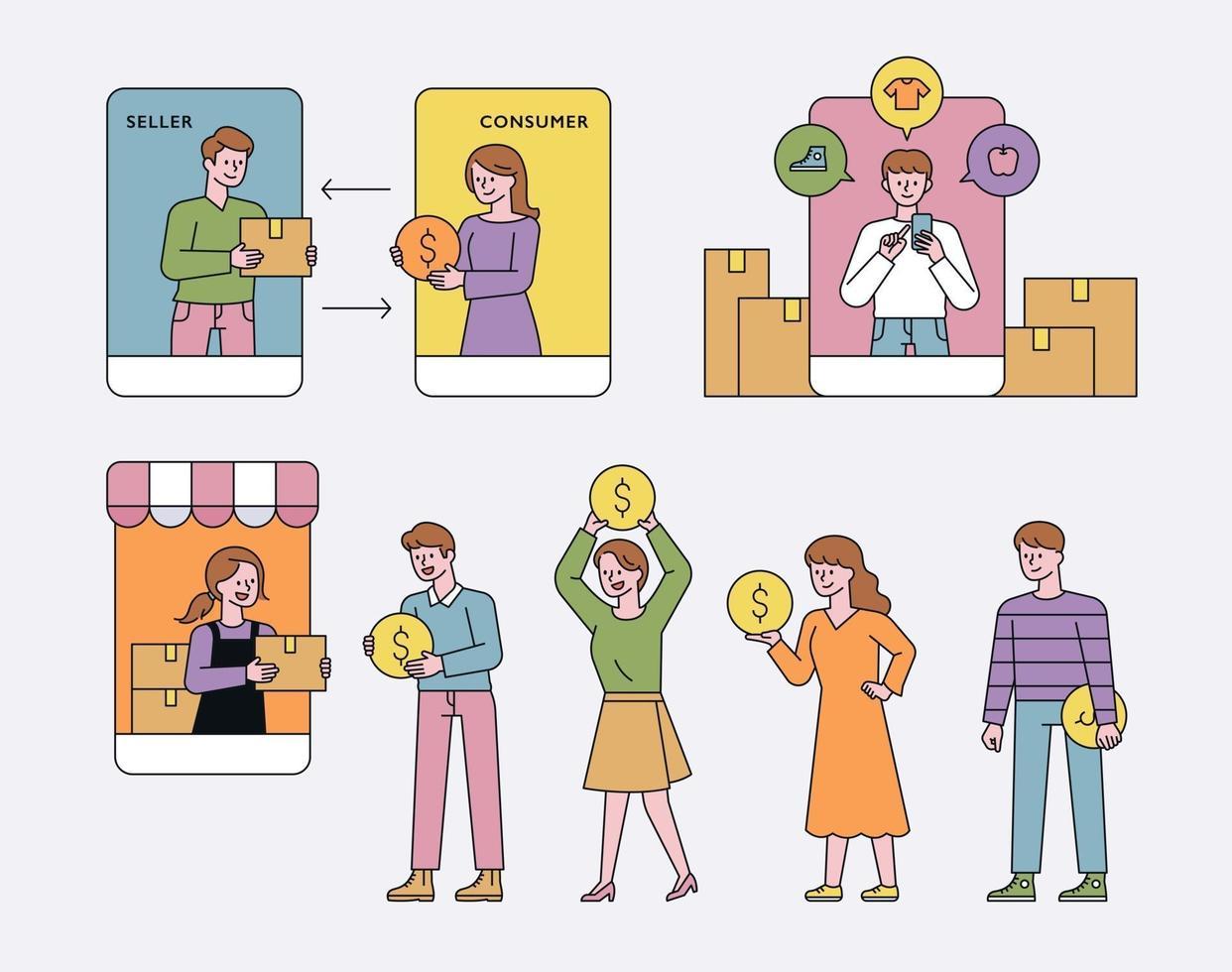 concetto di centro commerciale mobile. vettore
