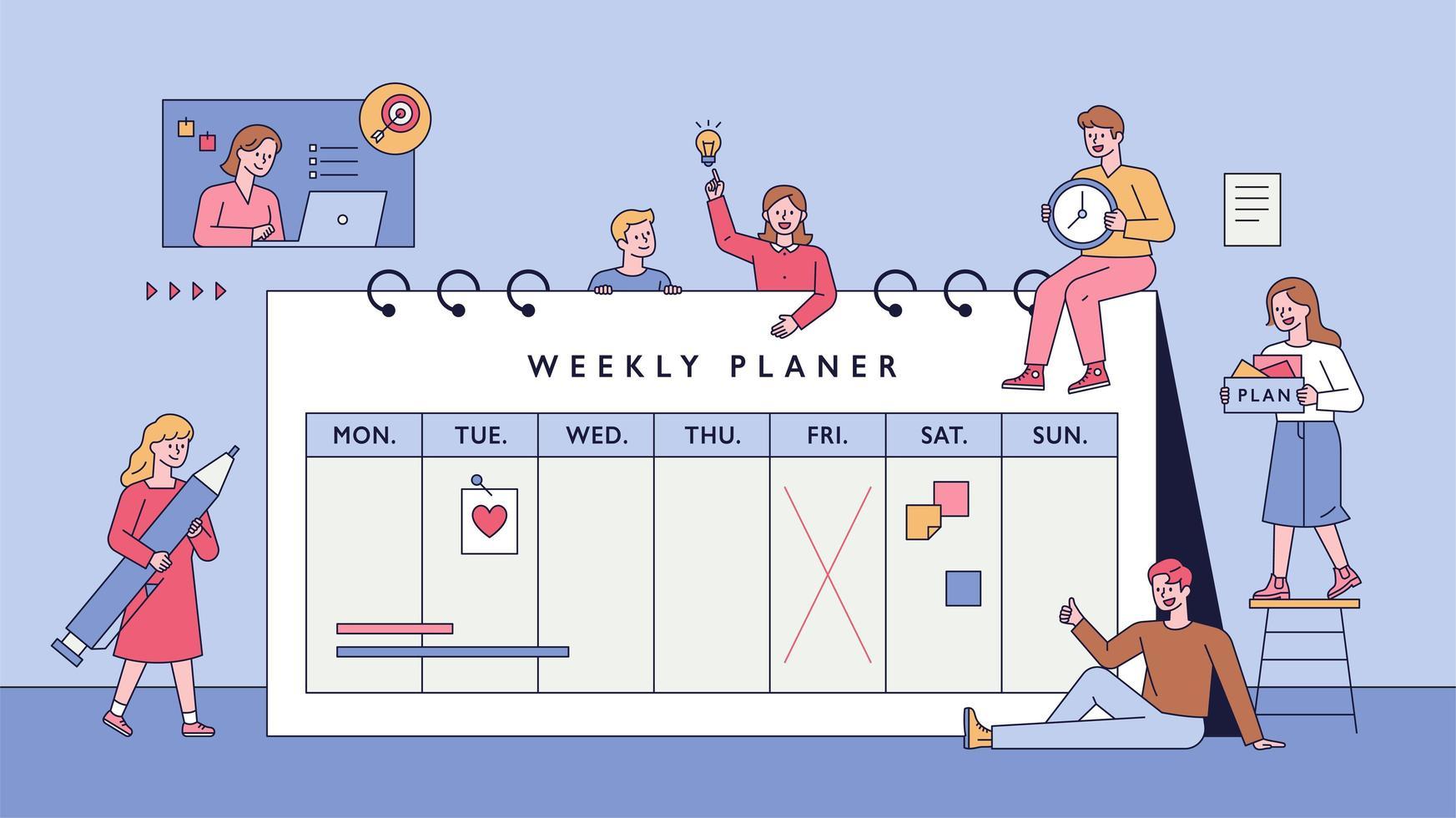 planner settimanale e persone. vettore
