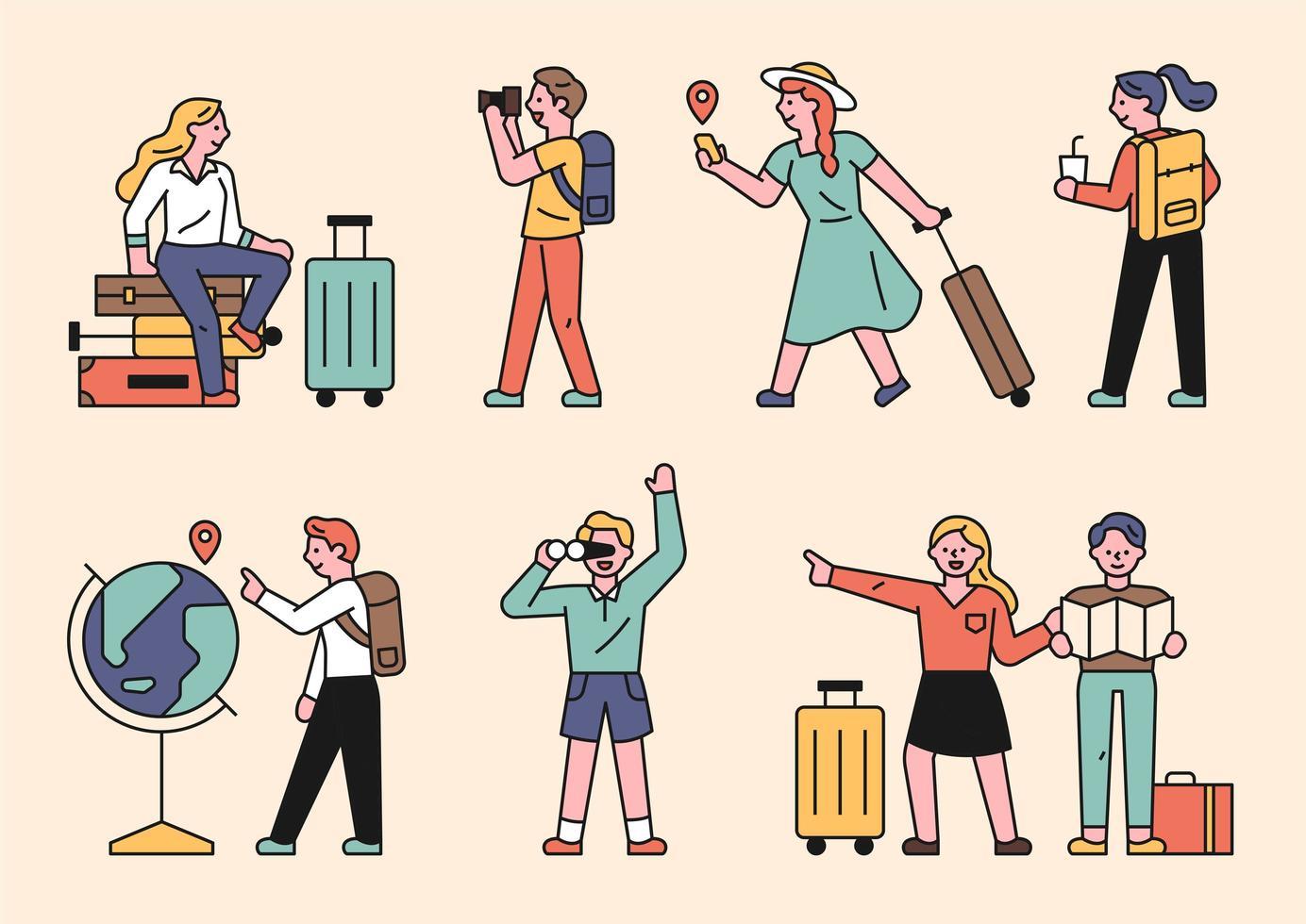 persone che fanno visite turistiche con le valigie. vettore