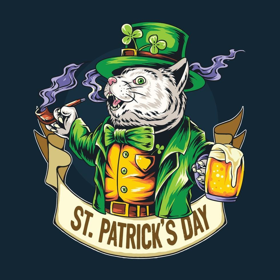 simpatico gatto il giorno di san patrizio con in mano un bicchiere pieno di birra vettore