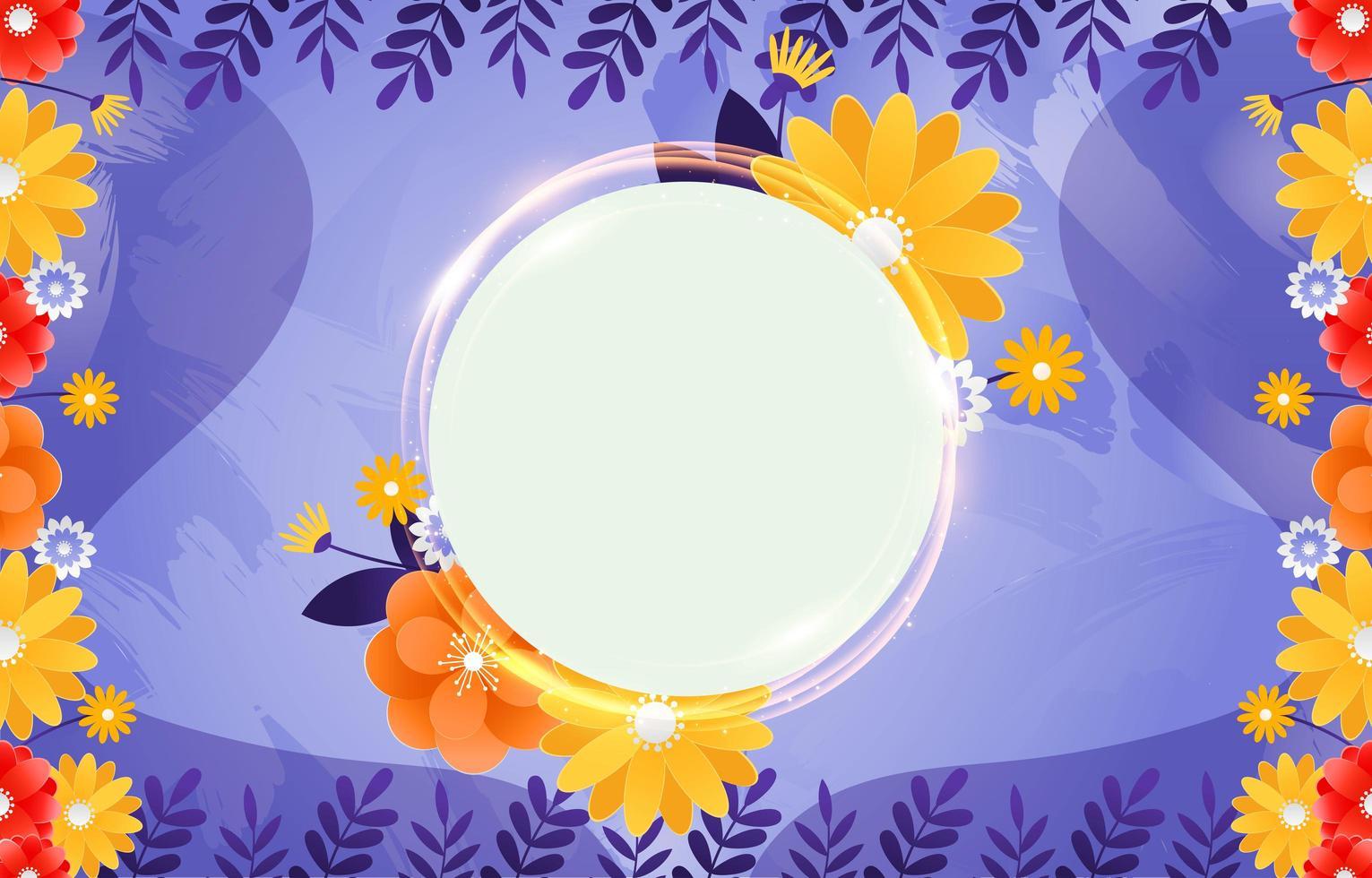 sfondo floreale brillante cornice rotonda vettore