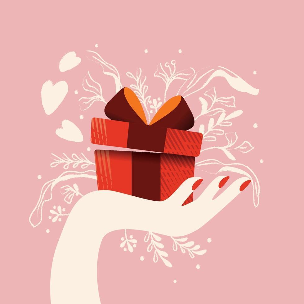mano che tiene una confezione regalo con cuori che escono e decorazioni. illustrazione disegnata a mano colorata per felice giorno di San Valentino. biglietto di auguri con fogliame ed elementi decorativi. vettore