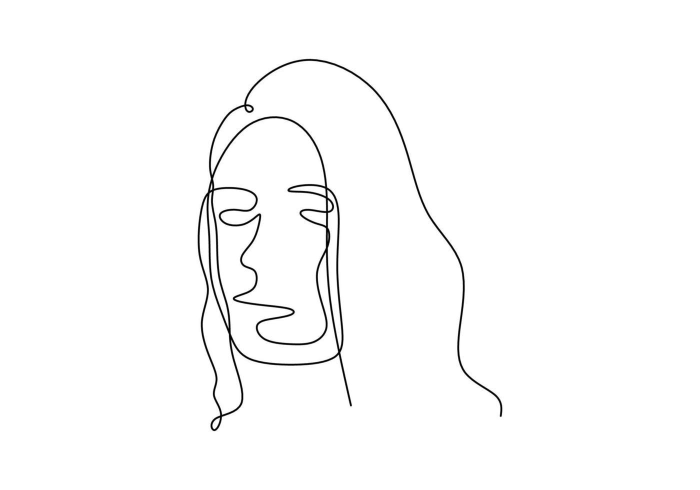 linea continua disegno astratto viso. vettore di minimalismo isolato su sfondo bianco.