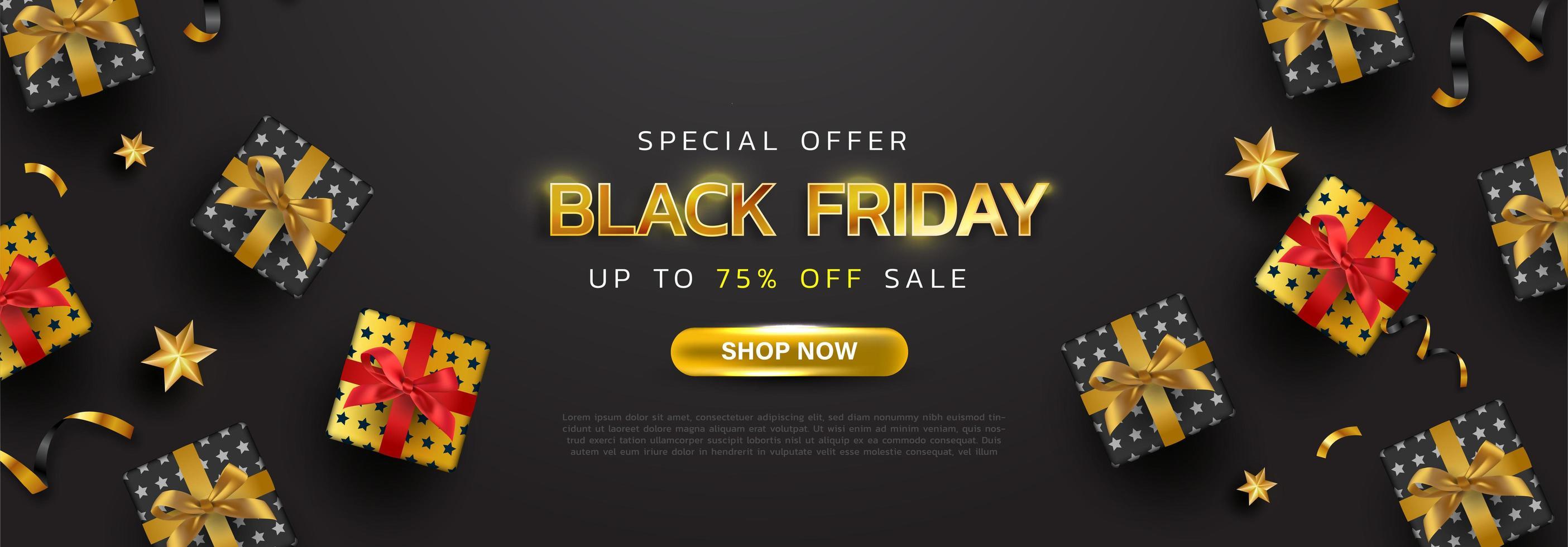 sfondo nero venerdì o banner di vendita di promozione di offerta speciale per poster di affari e pubblicità vettore