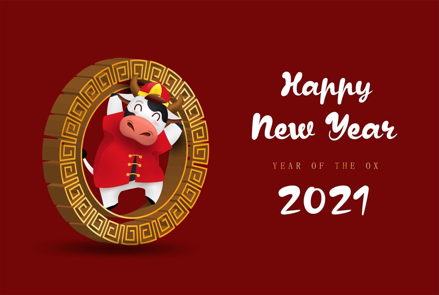 felice anno nuovo cinese 2021 banner zodiaco bue vettore