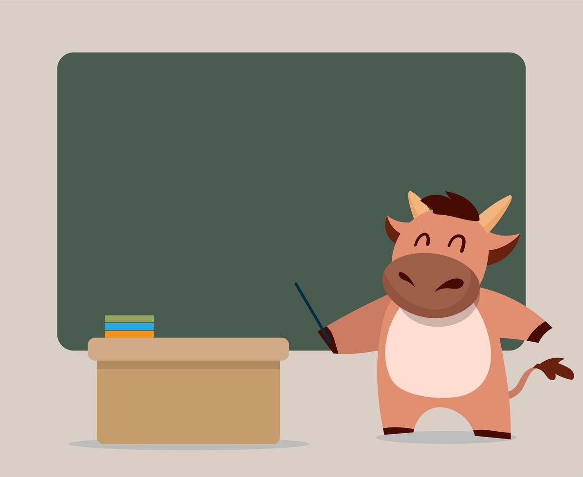 simpatico personaggio di mucca insegnante vettore