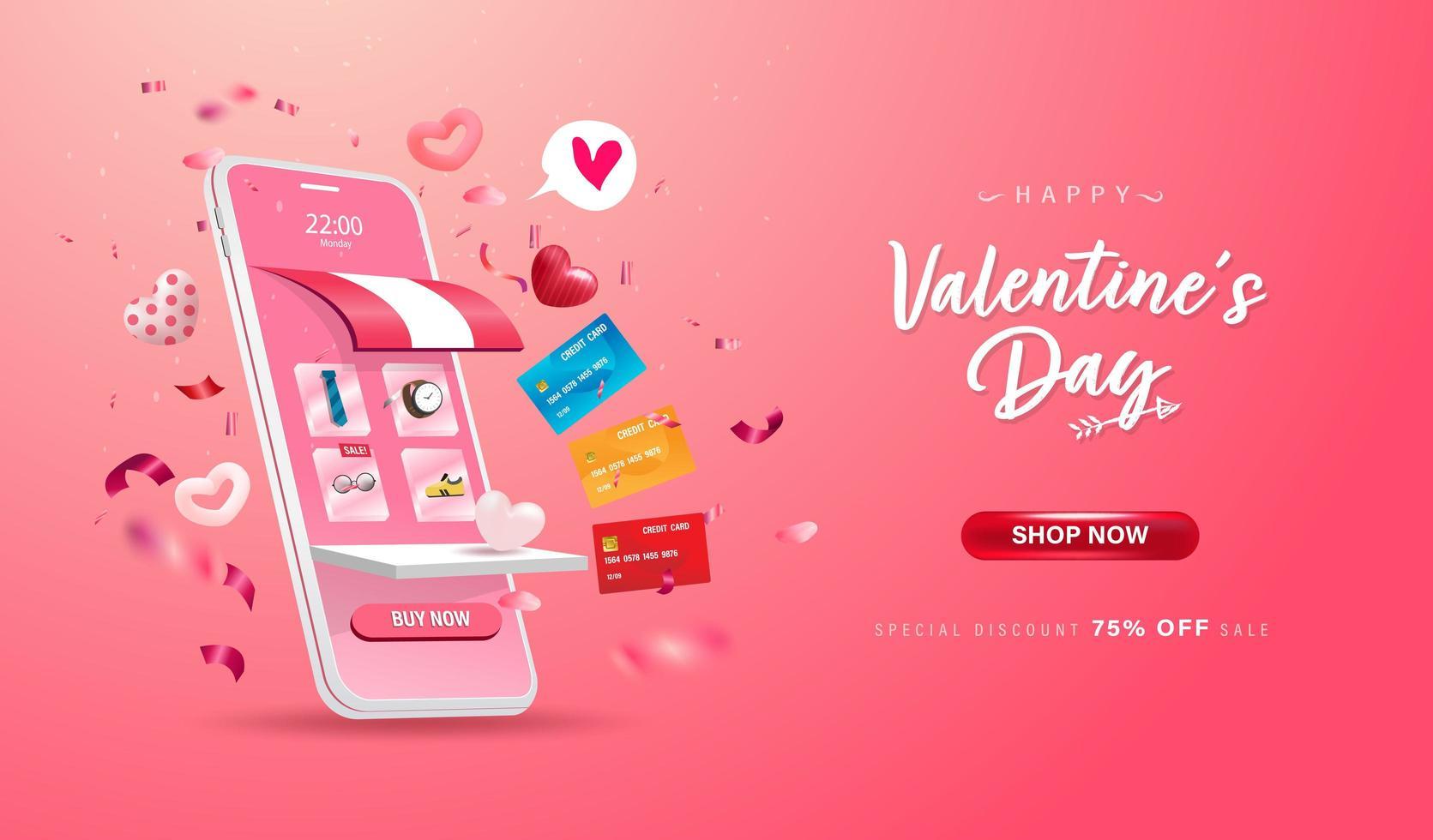 buon San Valentino. negozio di acquisti online su sito Web e telefono cellulare vettore