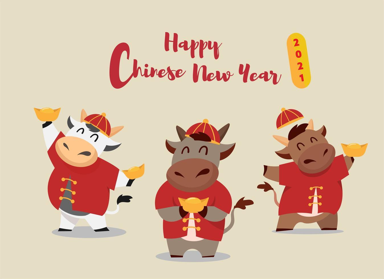 felice anno nuovo cinese 2021 bue zodiaco vettore