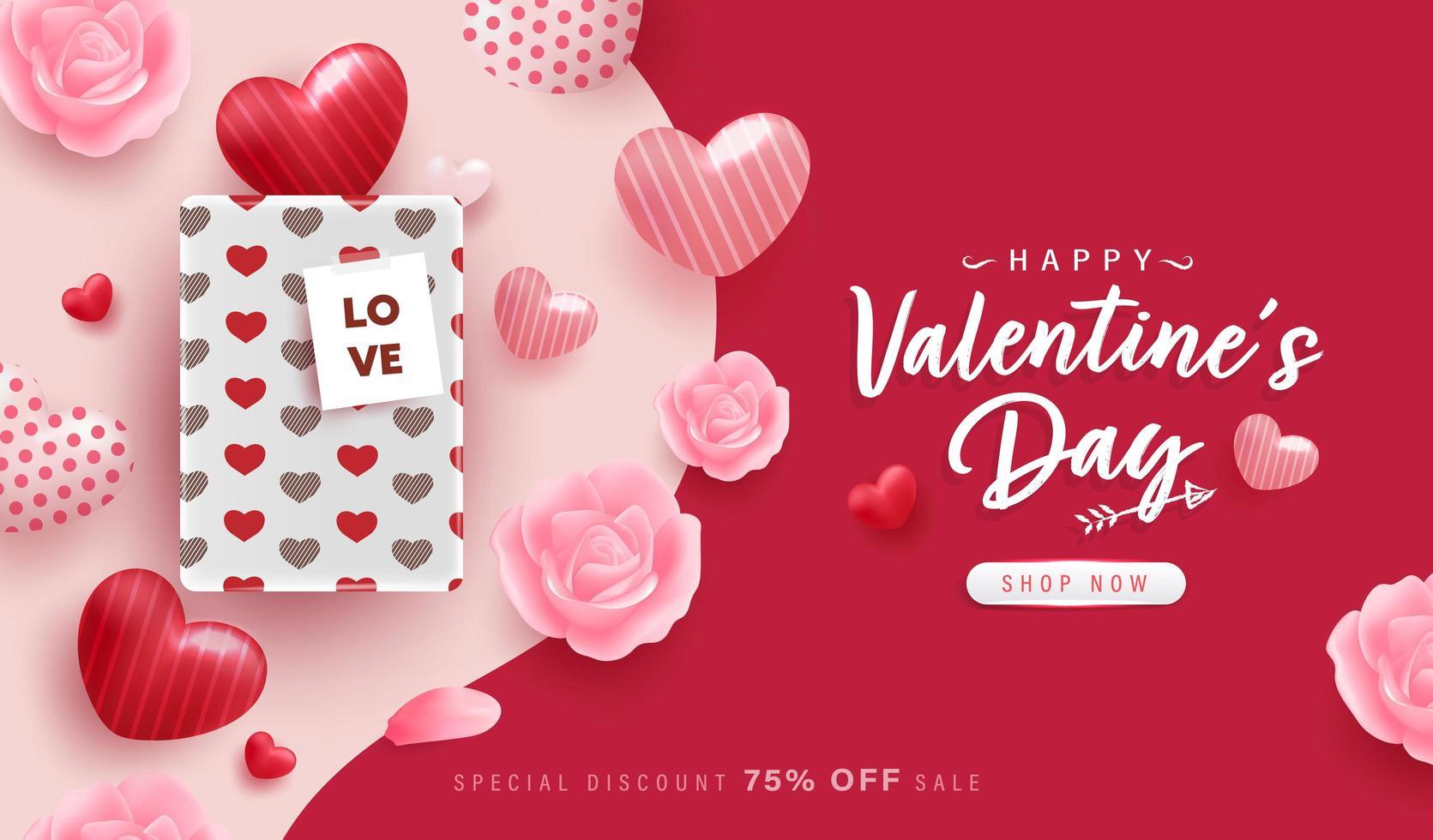 felice giorno di San Valentino sfondo o banner con elementi adorabili vettore