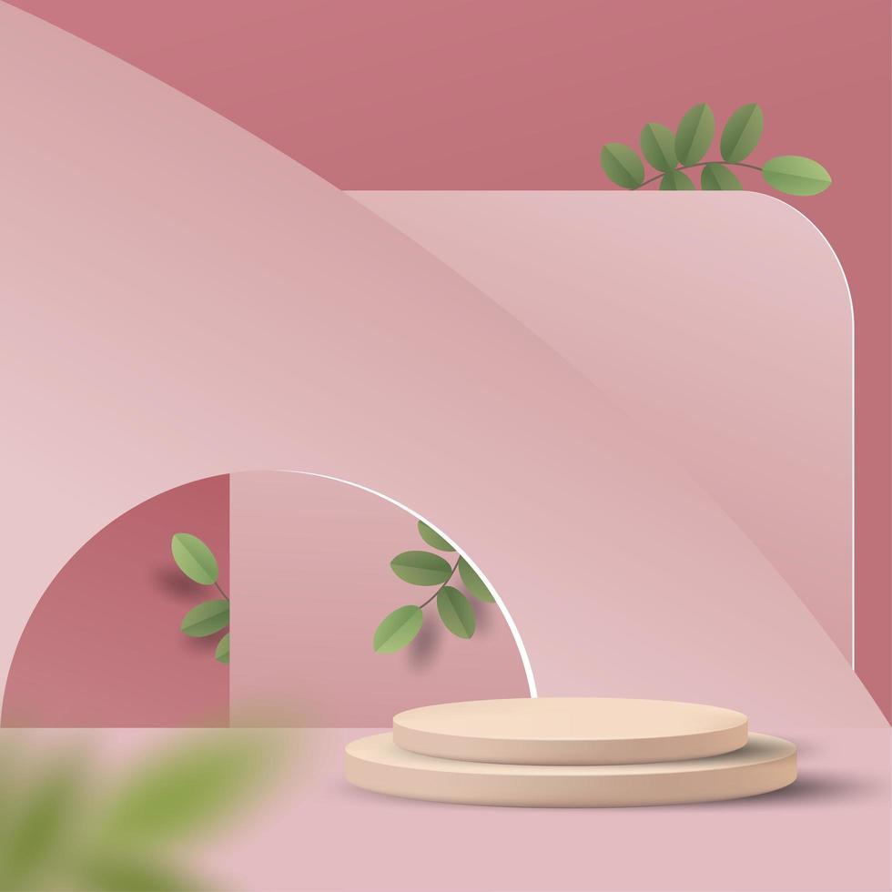 scena minima astratta su sfondo pastello con podio del cilindro e foglie vettore