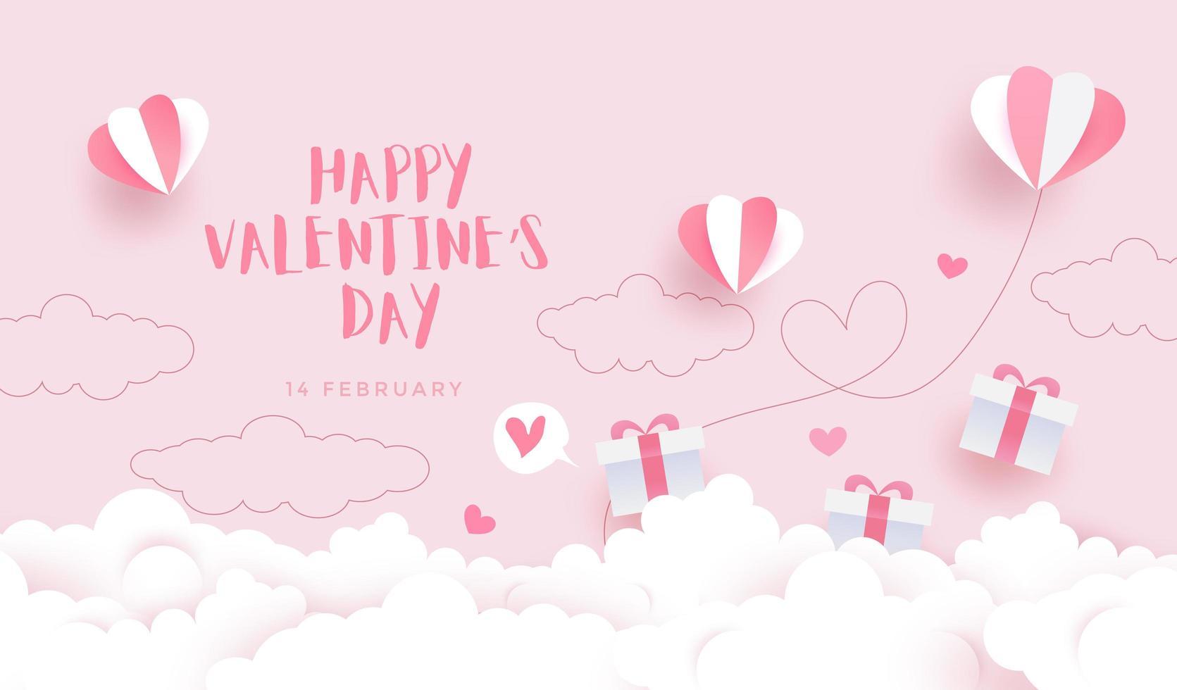 felice sfondo di san valentino, invito carta con cielo stile taglio carta vettore