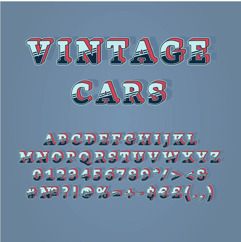 auto d'epoca intestazione set di alfabeto vettoriale 3d vintage
