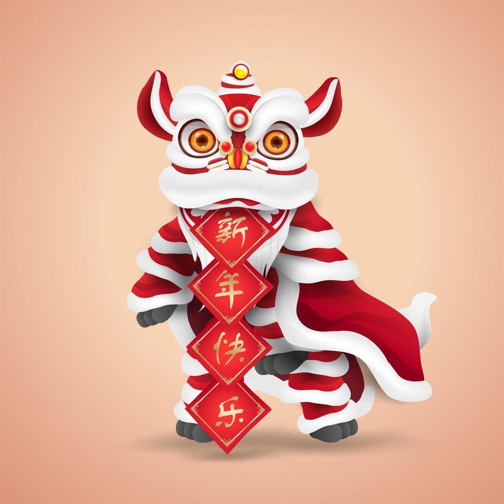 ballo del leone del capodanno cinese. cartone animato personaggio felice e carino. isolato. vettore