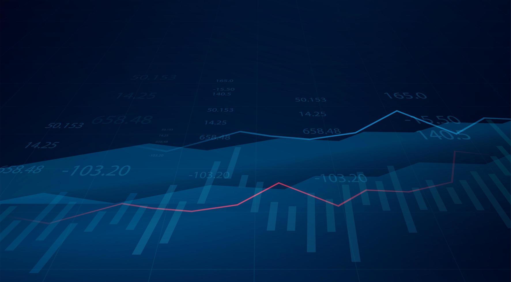 grafico grafico commerciale degli investimenti del mercato azionario su sfondo blu vettore