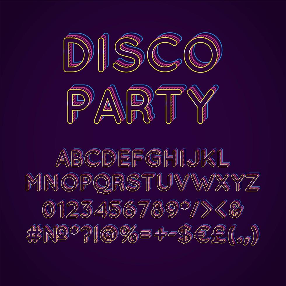 festa in discoteca vintage 3d vettore alfabeto set