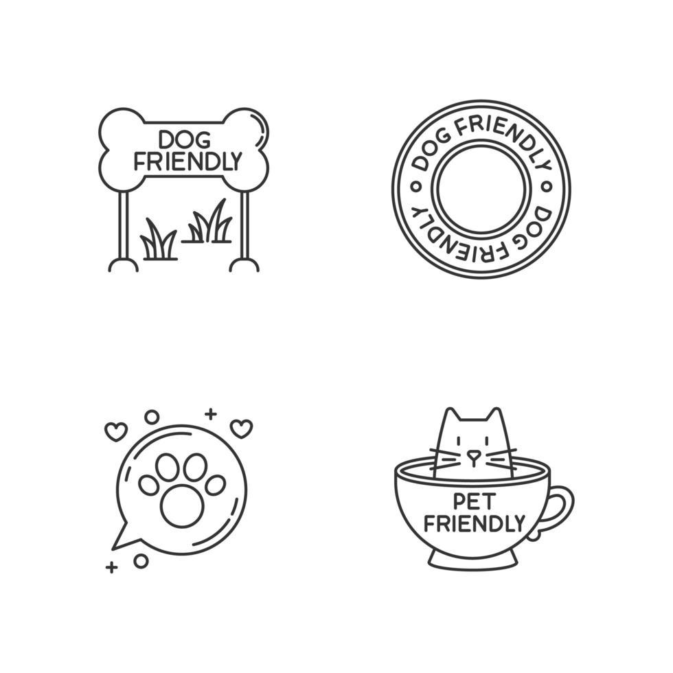 emblemi di aree amichevoli per cani e gatti set di icone lineari perfette pixel. gattino e cagnolino benvenuto. vettore