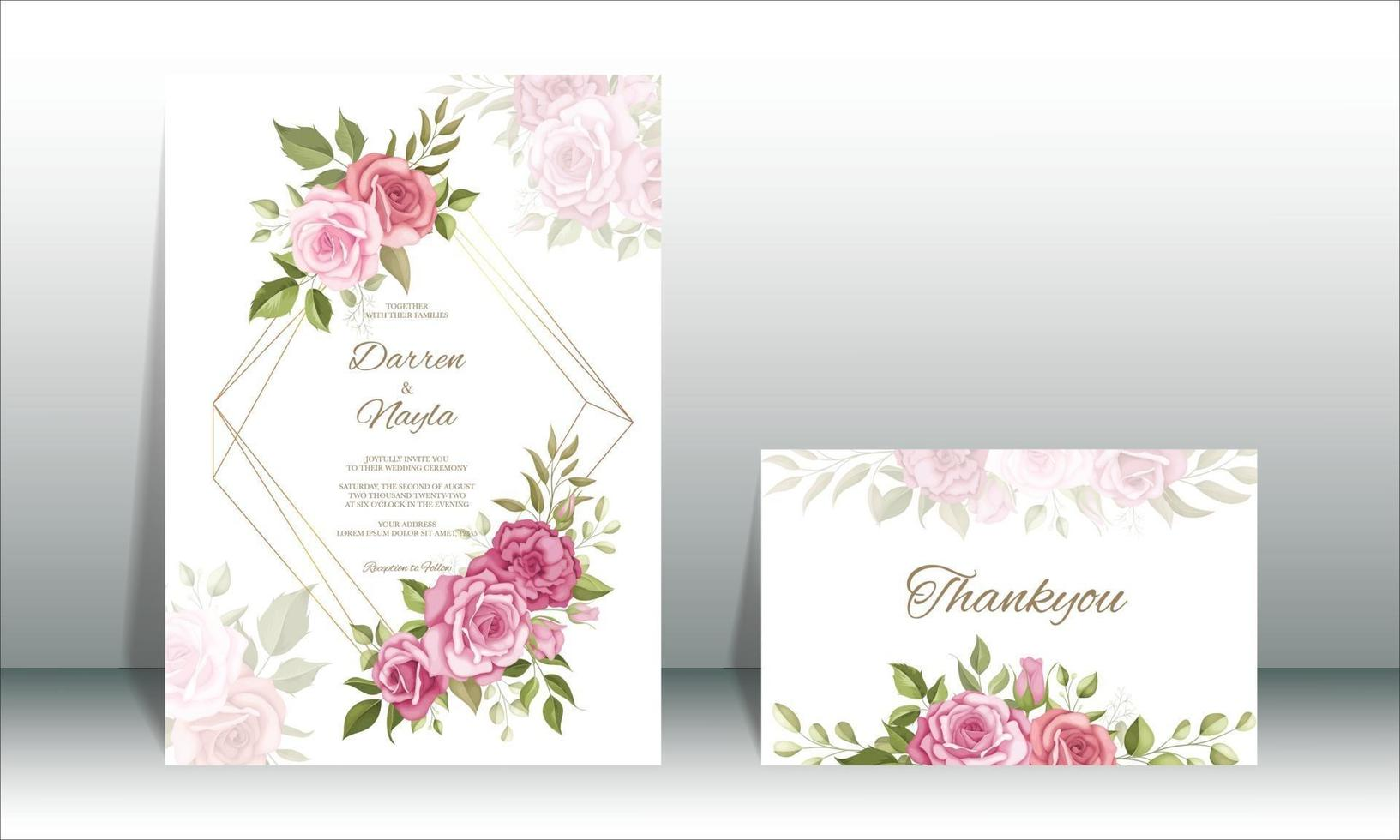 bellissimo set di modelli di carta di invito a nozze vettore