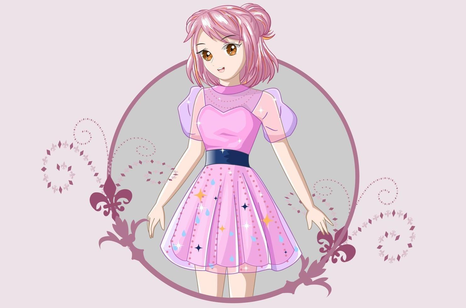 ragazza con i capelli rosa corti che indossa un abito rosa vettore