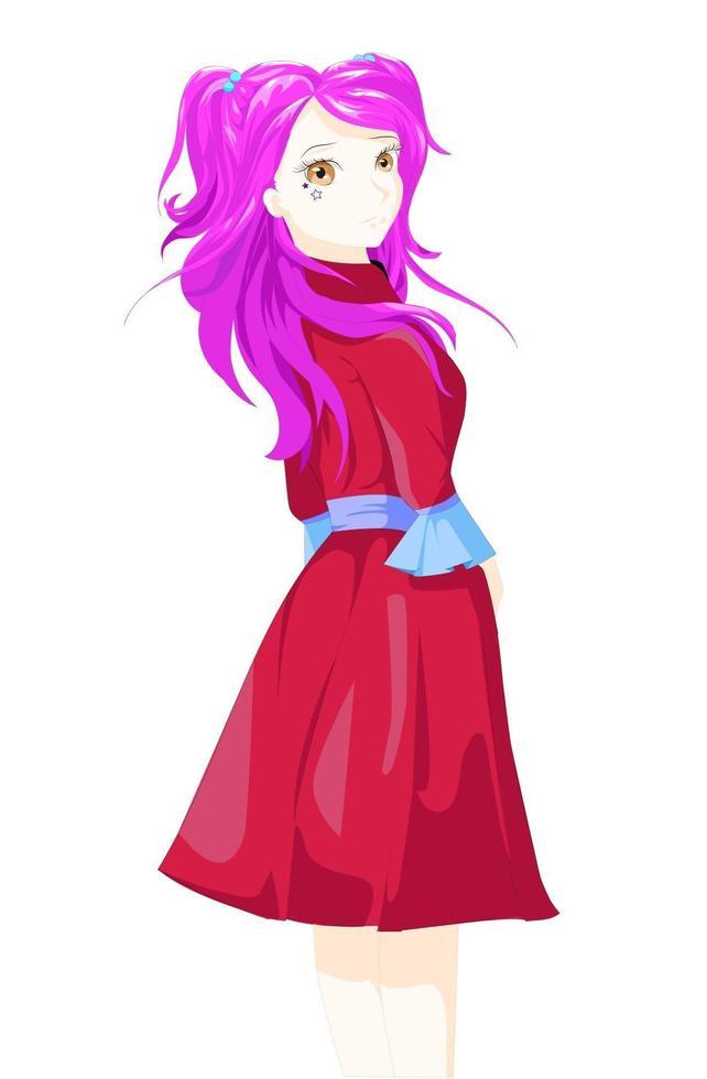 ragazza anime con capelli viola, occhi castani e vestito rosso vettore