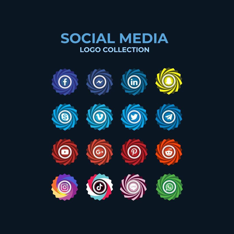 raccolta realistica del logo dei social media vettore