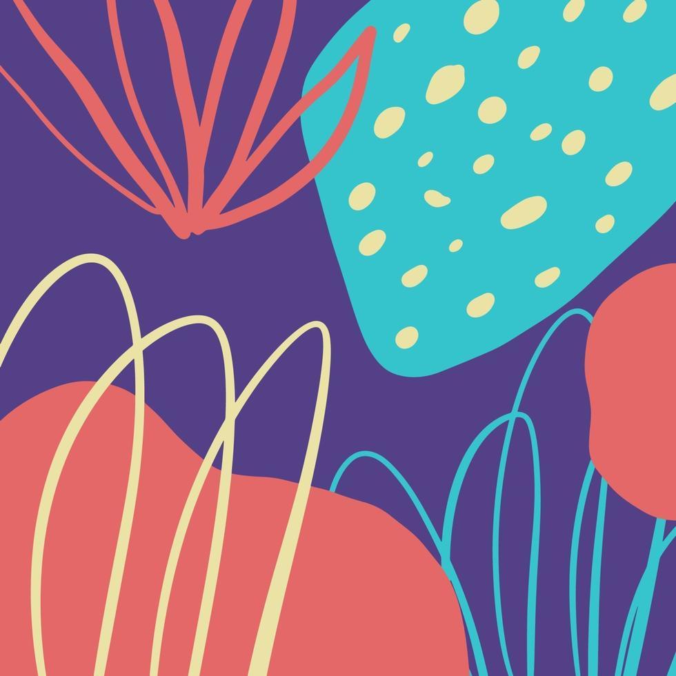 sfondo astratto di arte moderna con diverse forme, trame e colori vettore