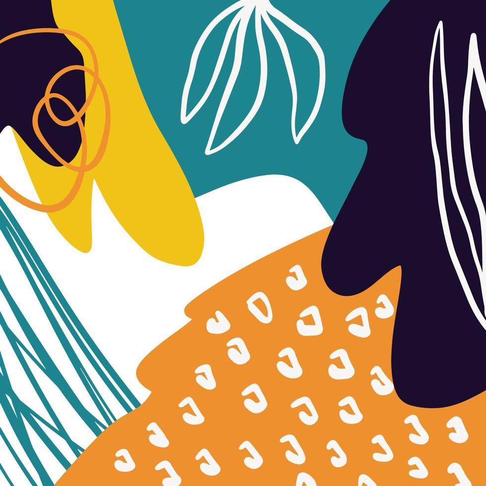 sfondo astratto creativo colorato doodle arte intestazione con diverse forme e trame vettore
