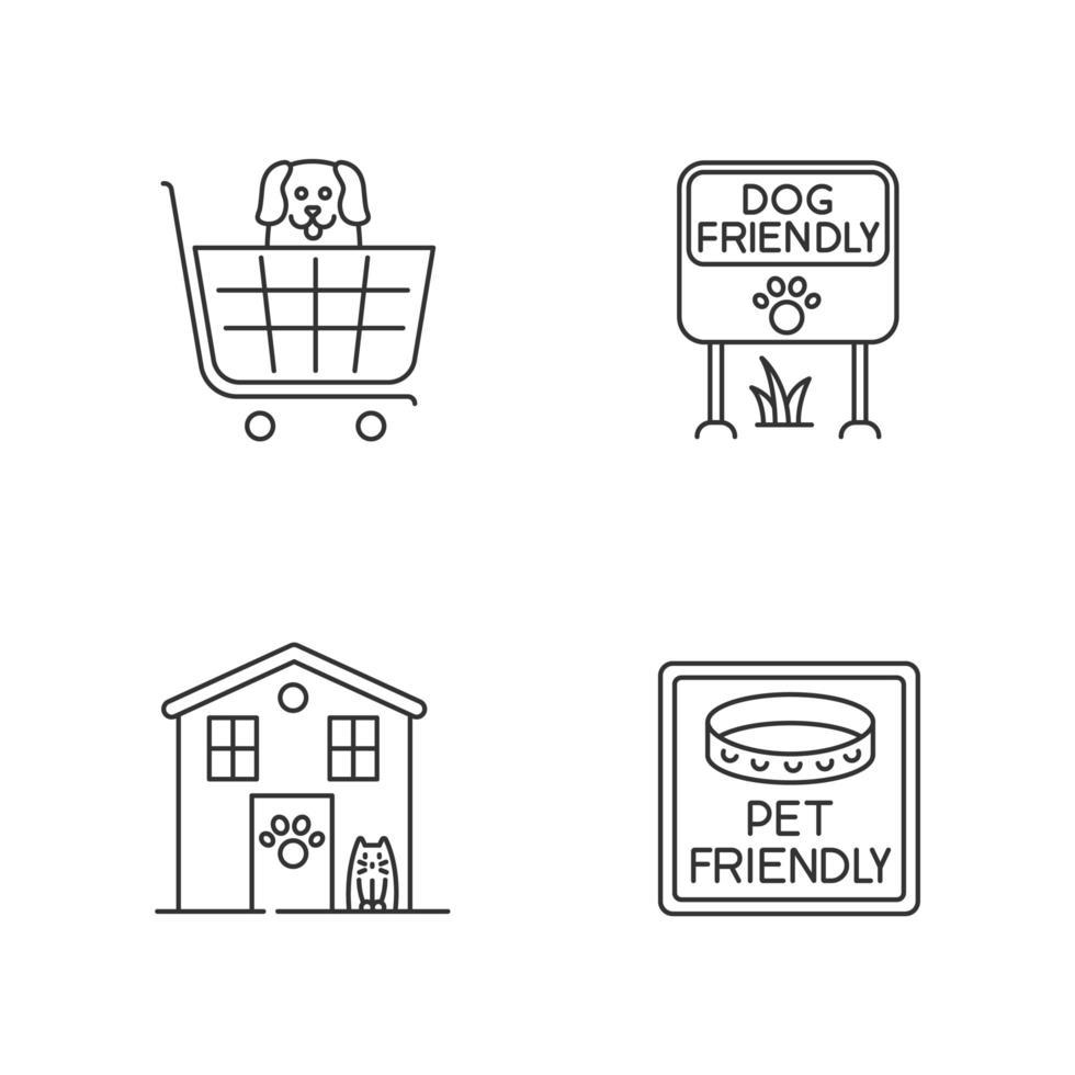 set di icone lineari perfette pixel di aree amichevoli animali. gli amici a quattro zampe accolgono negozi e case. simboli di contorno linea sottile personalizzabili. illustrazioni di contorno vettoriale isolato. tratto modificabile