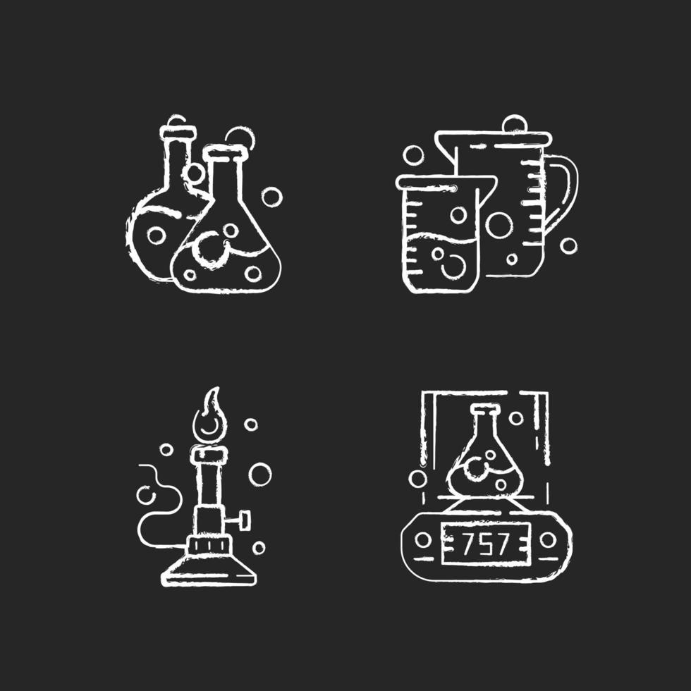 strumenti di laboratorio gesso icone bianche impostate su sfondo nero vettore