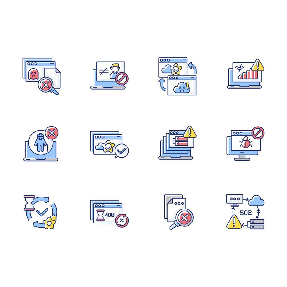 notifiche web rgb icone a colori impostate vettore