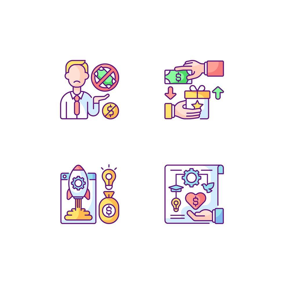problemi di crowdfunding set di icone a colori rgb vettore