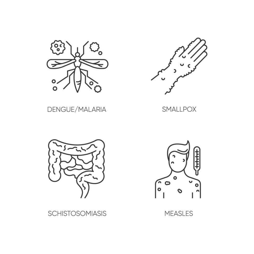 malattie contagiose pixel perfette icone lineari impostate. simboli di contorno di linee sottili personalizzabili per malaria, vaiolo, schistosomiasi e morbillo. illustrazioni di contorno vettoriale isolato. tratto modificabile