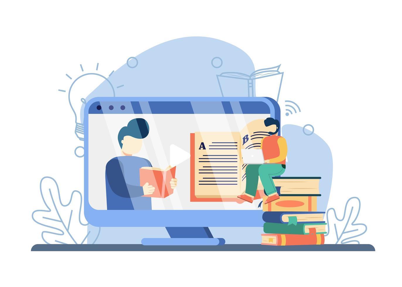 e il concetto di apprendimento. uomo che insegna sullo schermo con un libro, uomo che guarda lezione online. istruzione in linea, istruzione domestica, libri in linea, istruzione a distanza e scuola di affari in linea vettore