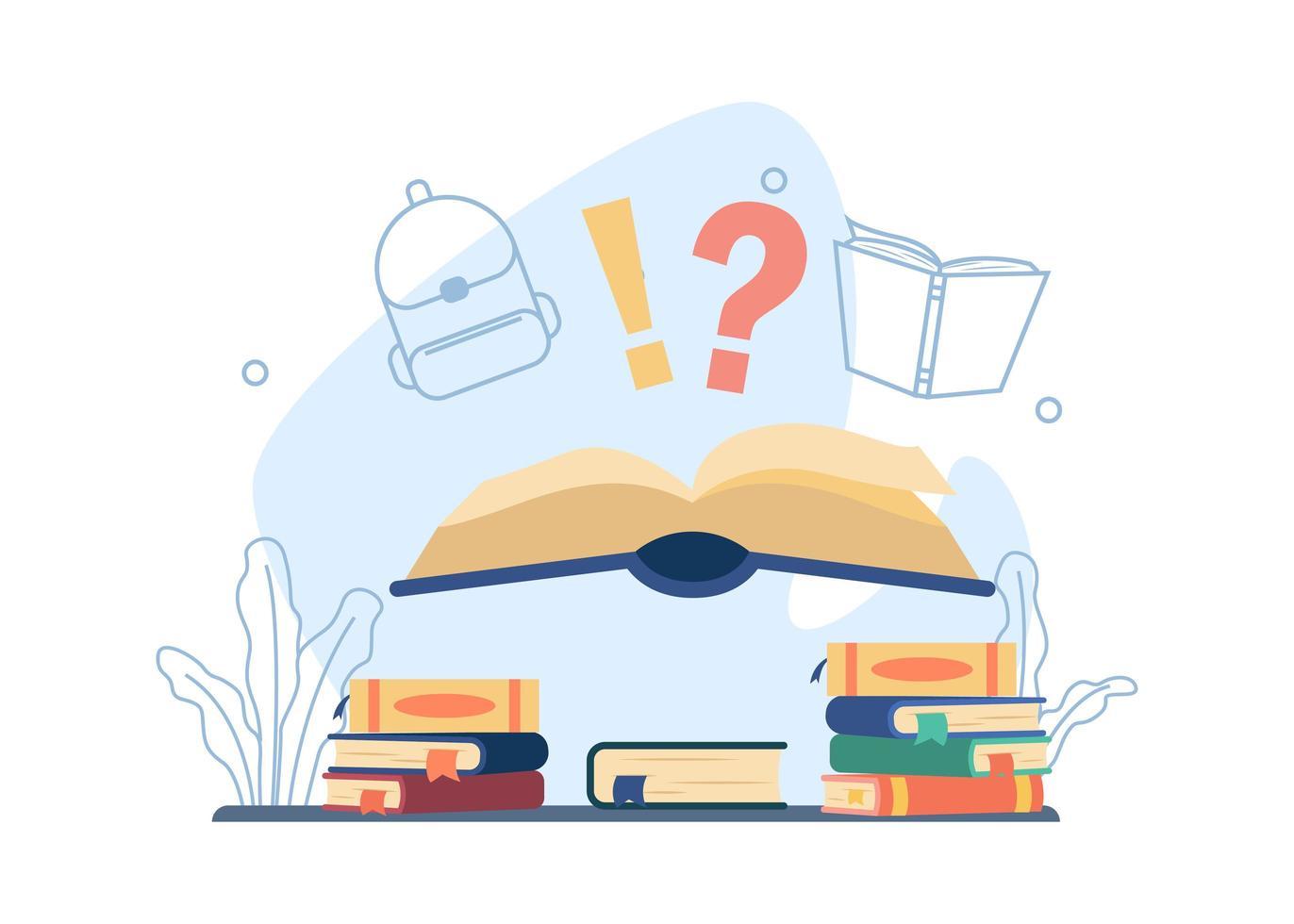 libro aperto con disegno di istruzione punto interrogativo vettore