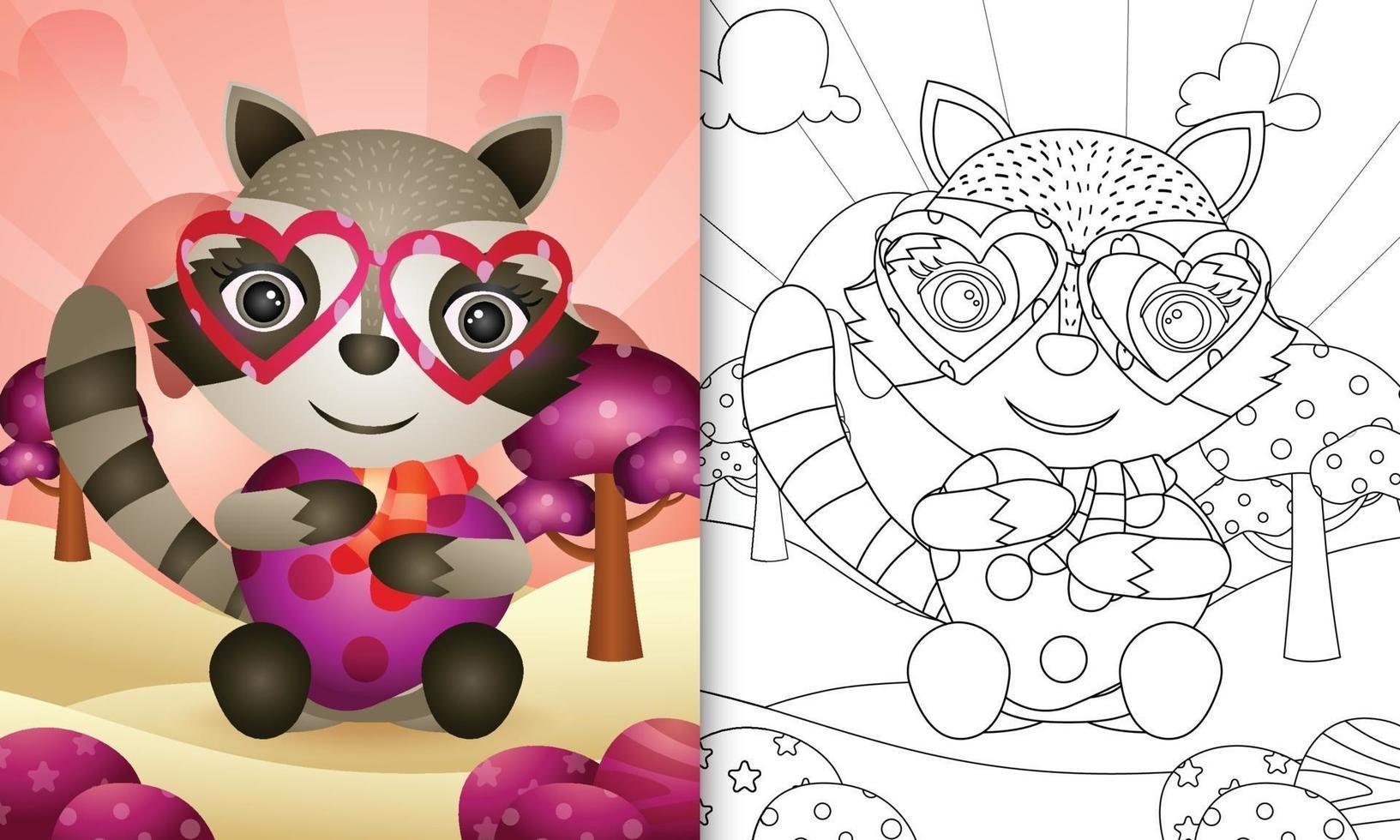 libro da colorare per bambini con un simpatico procione che abbraccia il cuore per San Valentino vettore