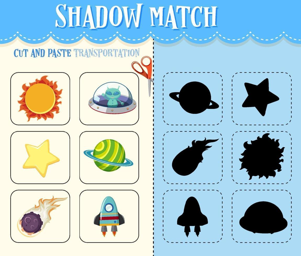 gioco di abbinamento delle ombre per bambini vettore