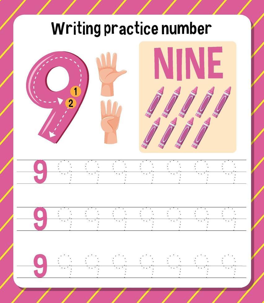 foglio di lavoro numero 9 di scrittura pratica vettore