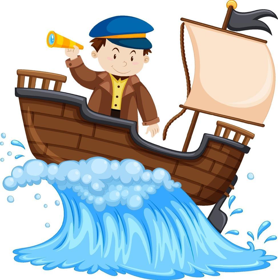 capitano in piedi sulla nave su sfondo bianco vettore