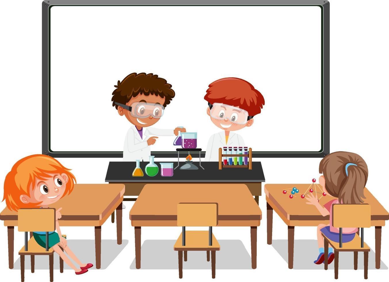 giovani studenti che fanno esperimenti scientifici nella scena della classe vettore