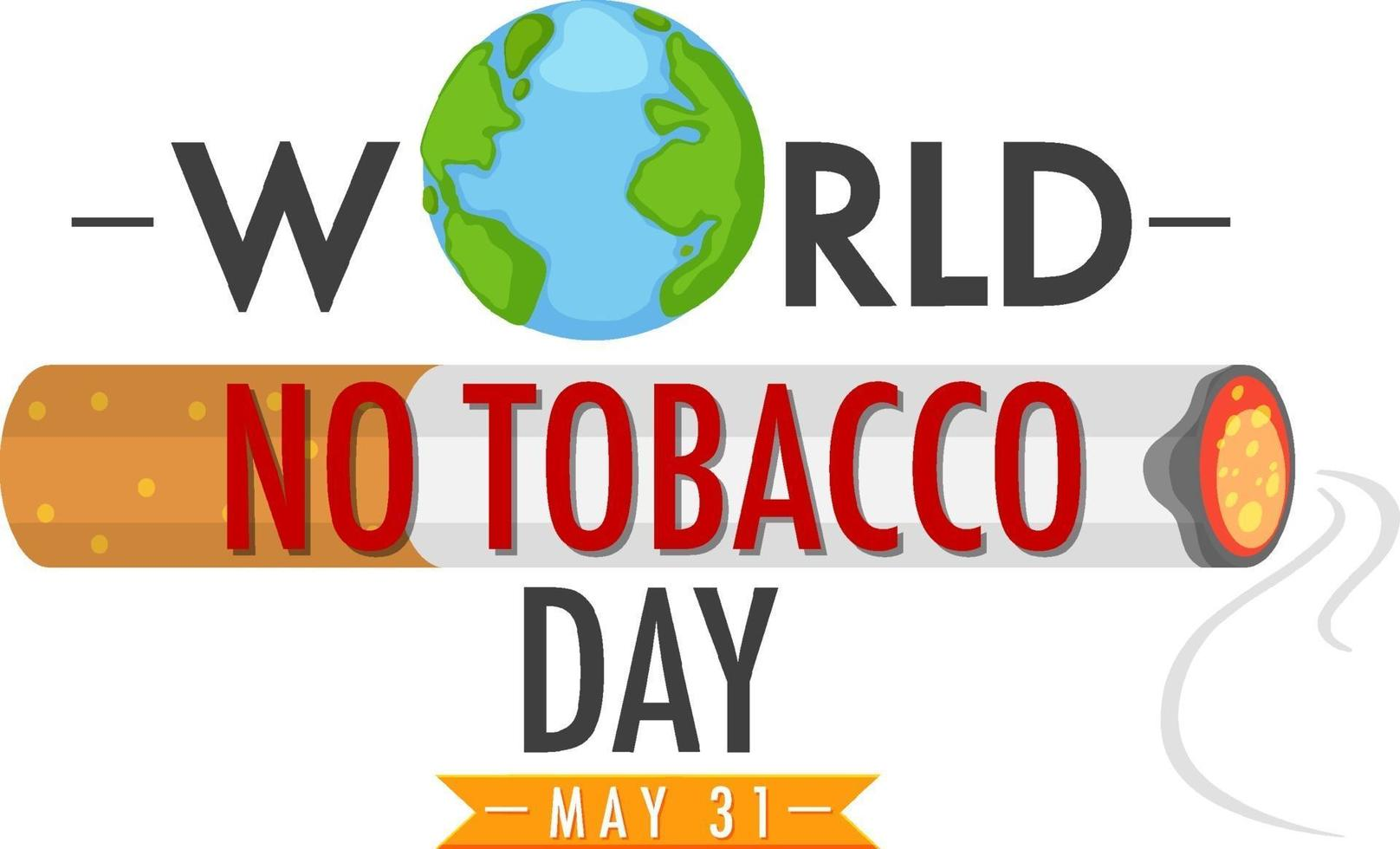 logo della giornata mondiale senza tabacco con tabacco che brucia con il fumo vettore