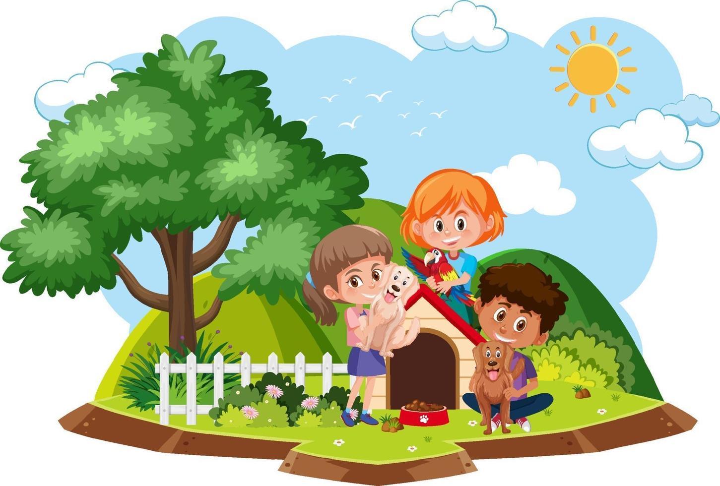 i bambini giocano con il cane isolato vettore