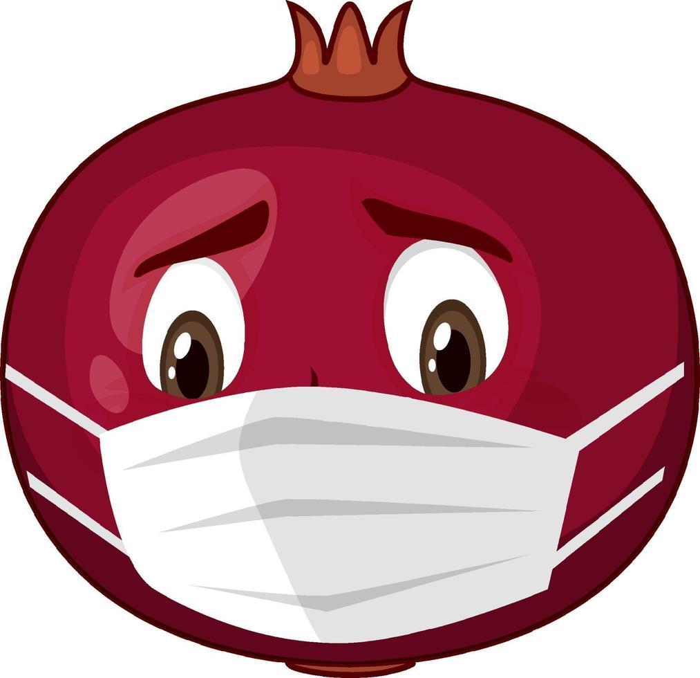 personaggio dei cartoni animati di melograno con espressione facciale vettore