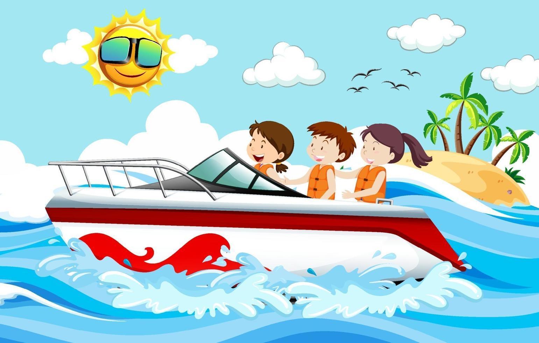 bambini in piedi su un motoscafo nella scena della spiaggia vettore