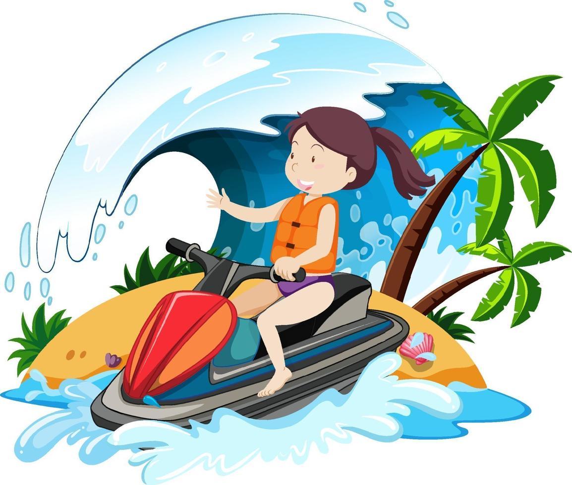una donna che guida il personaggio dei cartoni animati di jet ski isolato su sfondo bianco vettore