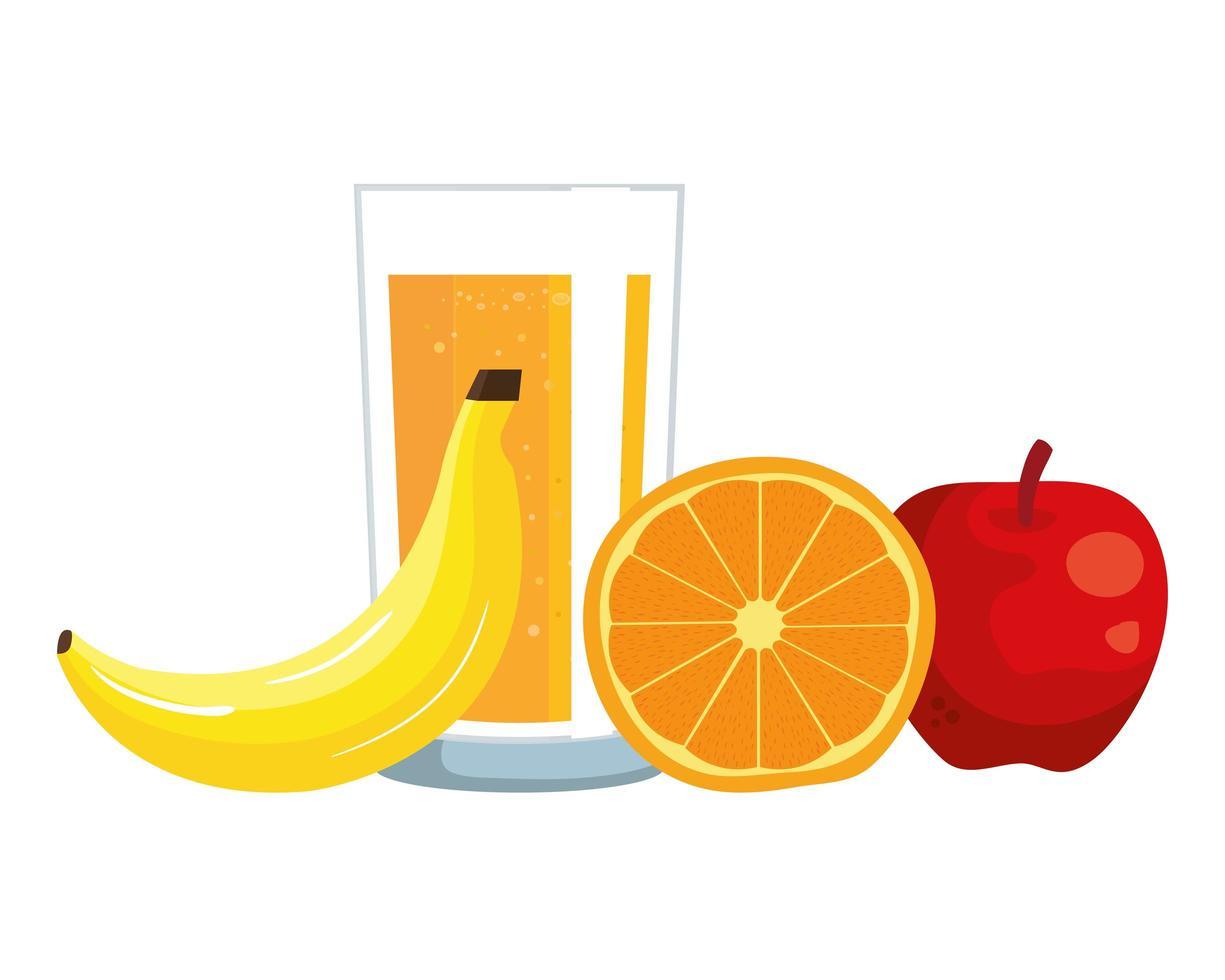 succo d'arancia con vetro e frutta vettore