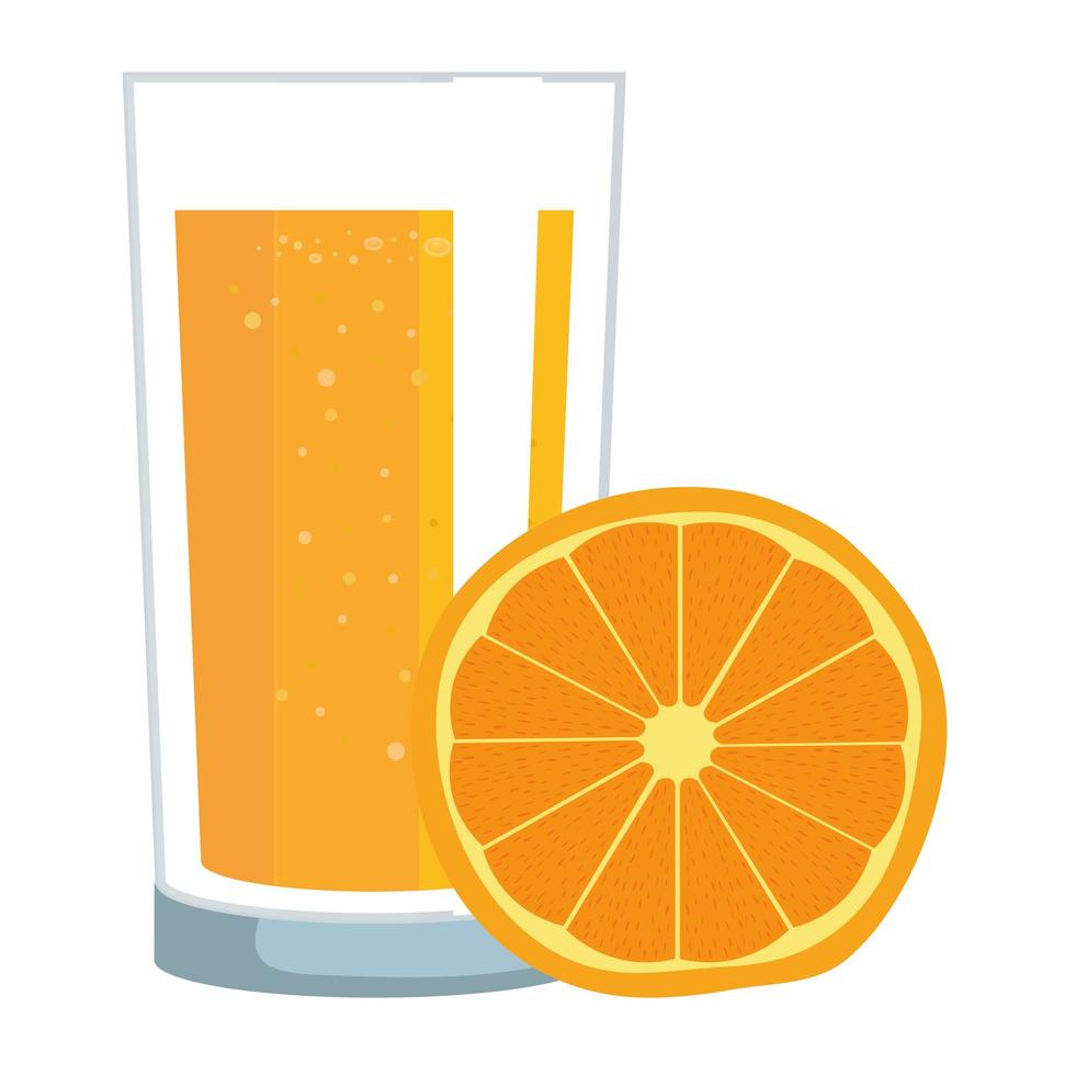 agrumi succo d'arancia con vetro vettore