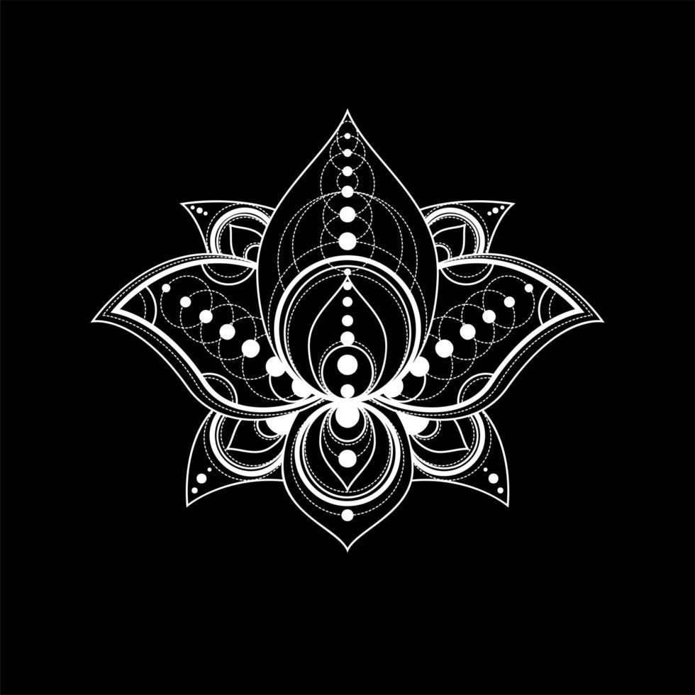 fiore di loto con ornamento geometrico illustrazione lineare del vettore