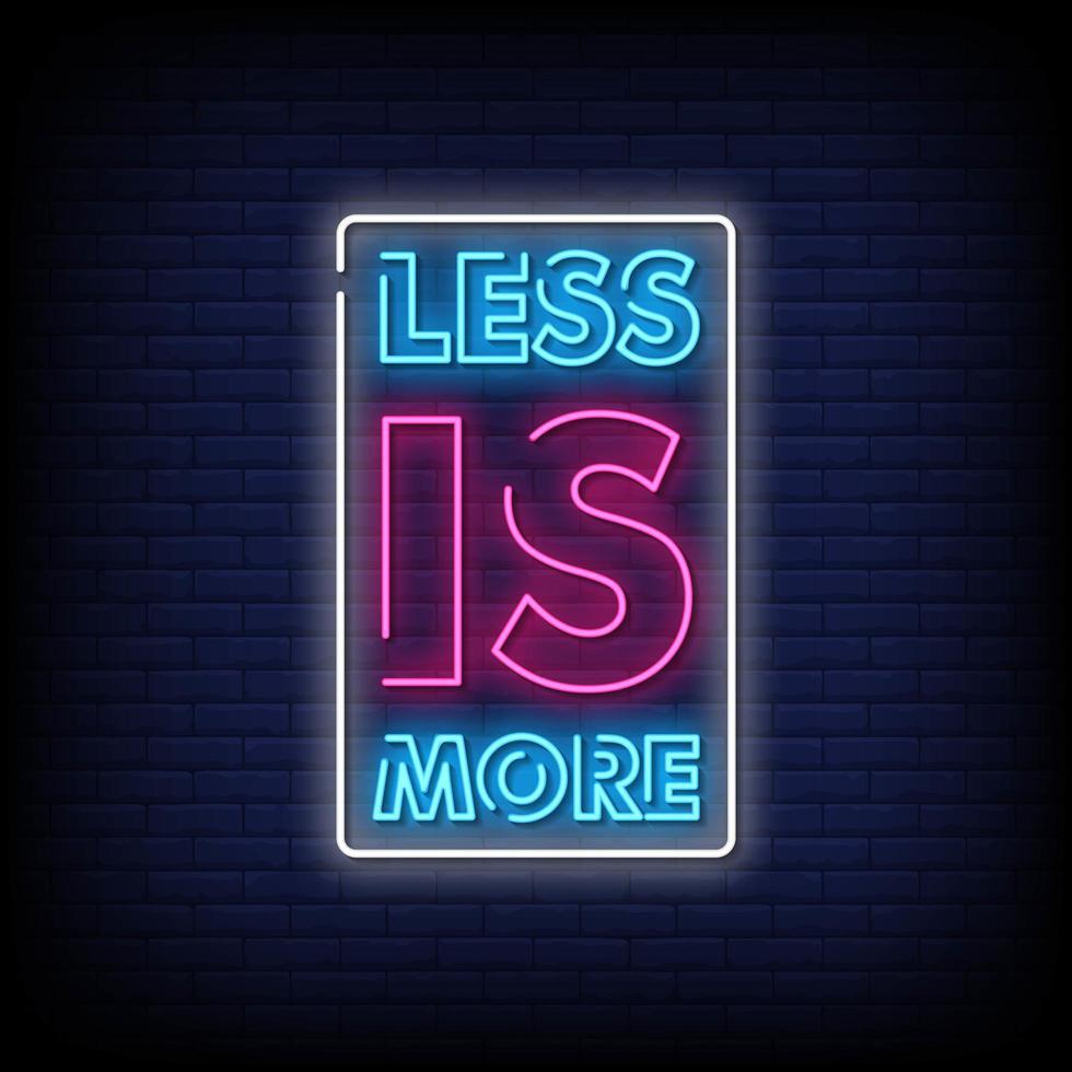 meno è più vettore di testo in stile insegne al neon