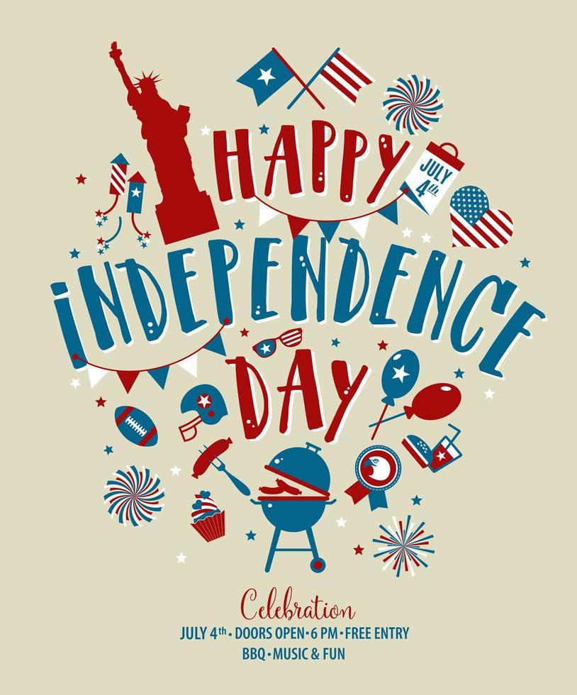 quarto di luglio, saluto del giorno dell'indipendenza dichiarato unito. 4 luglio design tipografico. utilizzabile per biglietti di auguri, banner, stampa e invito. vettore