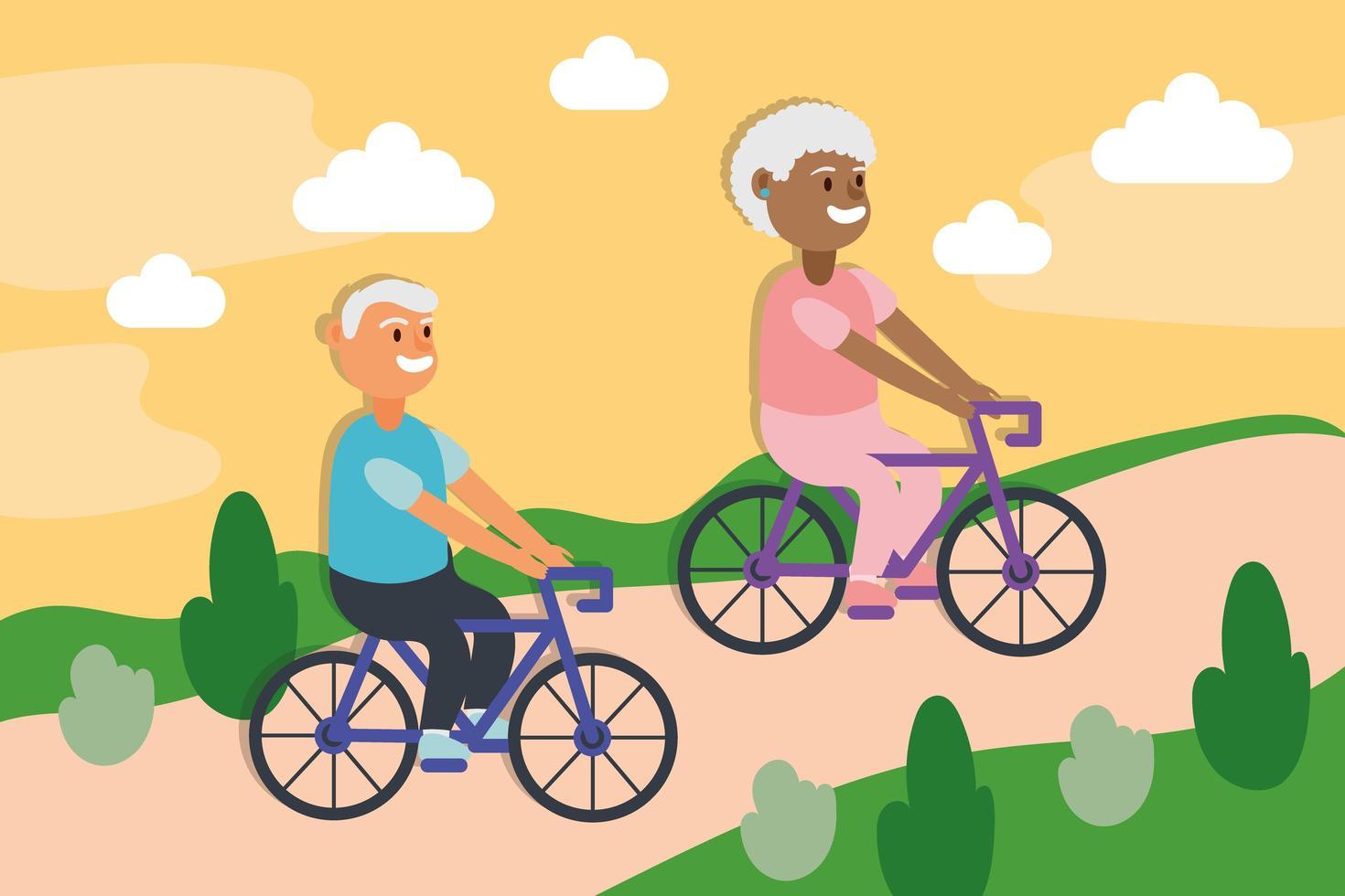 coppia di anziani interrazziale in sella a biciclette, personaggi anziani attivi vettore